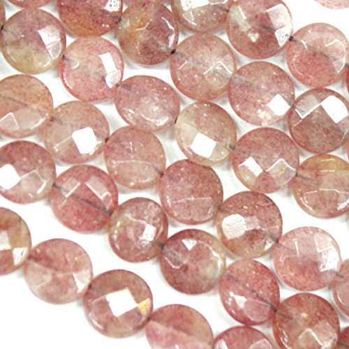 Faceted Natural Genuine Strawberry Quartz Coin Gemstone Beads for Jewerly Bracelet Making (10mm) ()