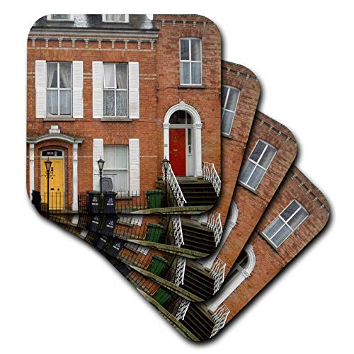 3dRose Jos Fauxtographee- Dublin Doors Red and Yellow - Dublin Doors in red and yellow at two different homes - set of 4 Ceramic Tile Coasters (cst_292404_3) (Ceramic Tiles Dublin)
