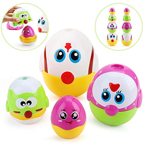 Amy & Benton Chicken Eggs Stacking Toy for 1 2 3 Year Old Nesting Toys for Baby and Toddlers Birthday Gift