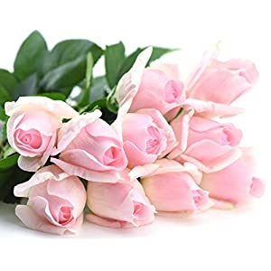 FiveSeasonStuff 10 Stems of Real Touch Silk Roses 'Petals Feel and Look like Fresh Roses' Artificial Flower Bouquet for Wedding Bridal Office Party Home Decor 5