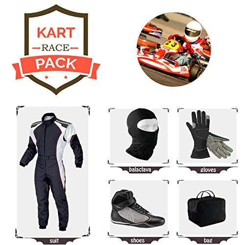 Sports Blue Go Kart Racing Suit Suit,Gloves,Balaclava and Shoes Free Bag - Black with White Side Style ()