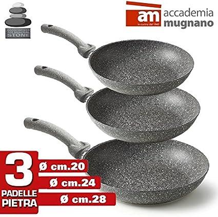 Set 3 padelle alluminio coperchio padella antiaderente cucina made in Italy 28cm