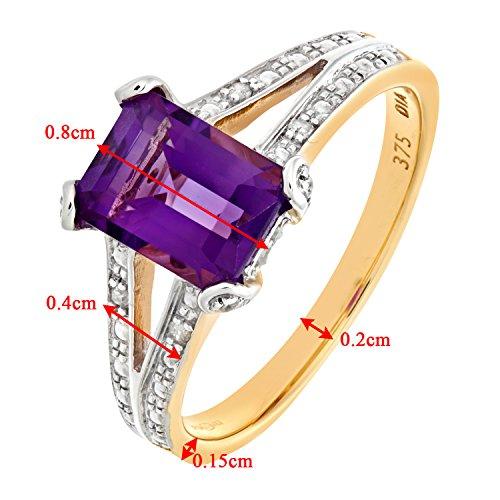 Bague Femme - Or jaune (9 carats) 2.7 Gr - Améthyste - Diamant 1.51 Cts