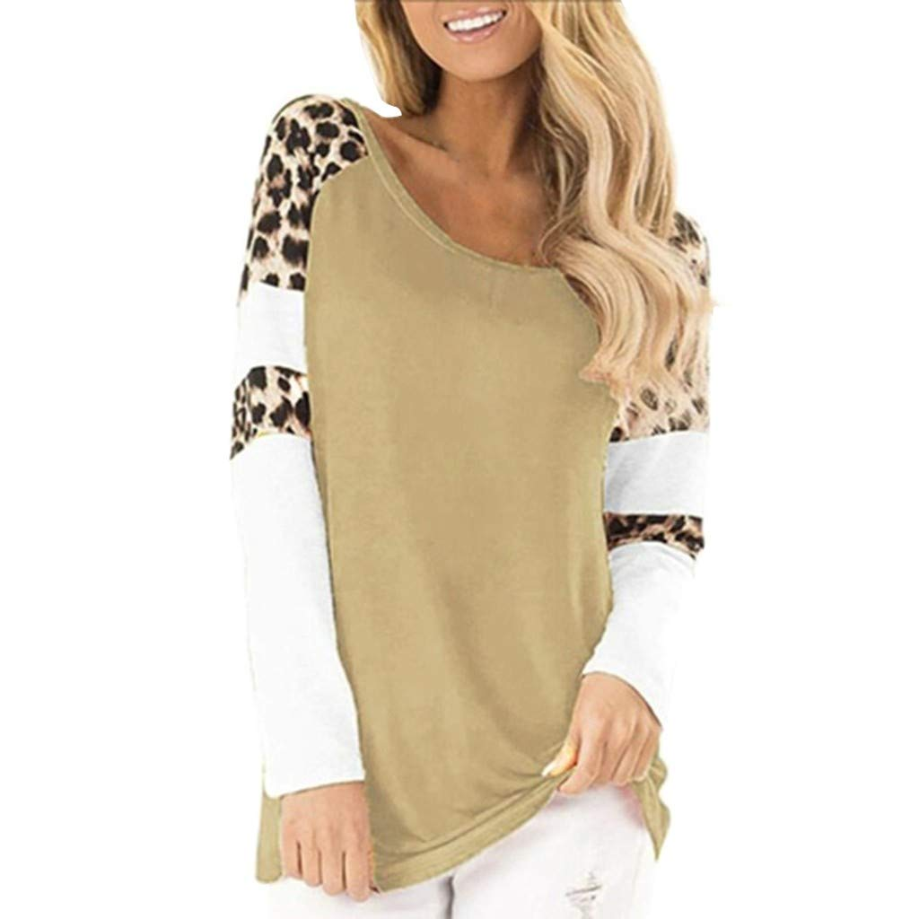 QIUUE Women Elegant Leopard Print Sweatshirt Long Sleeve Splicing Blouses Round Neck Casual Tops Comfy Patchwork Pullovers Khaki by QIUUE
