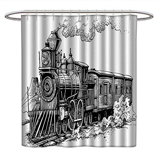 Anniutwo Steam Enginecute Shower curtainRustic Old Train in Country Locomotive Wooden Wagons on Rail Road with SmokeUnique Shower curtainBlack and White