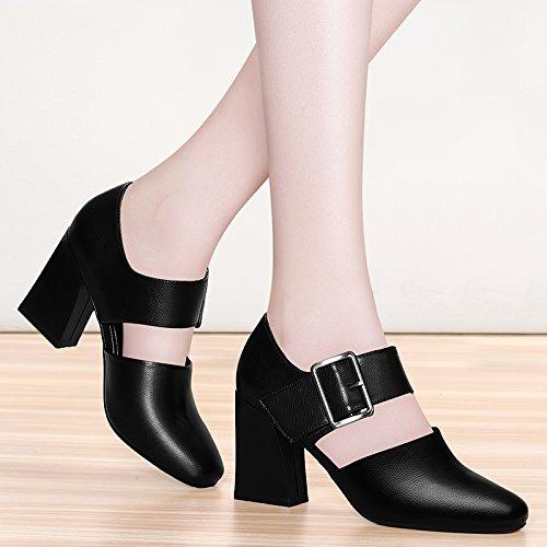 kphy Spring New Rough Ferse 8 cm High Heel Retro Fashion Student Retro Klein Leder Schuhe ein Wort Mund weiblich