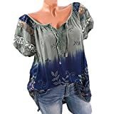 HGWXX7 Women Print Lace Plus Size V-Neck Tie Loose Tunic Blouse Tops T-Shirt (XL, Army Green)