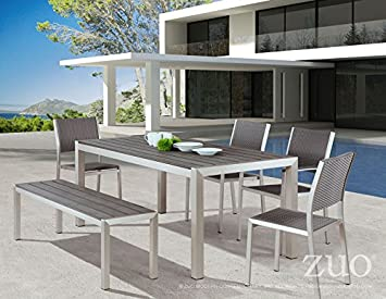 Zuo Outdoor Metropolitan Bench Chair, Brushed Aluminum