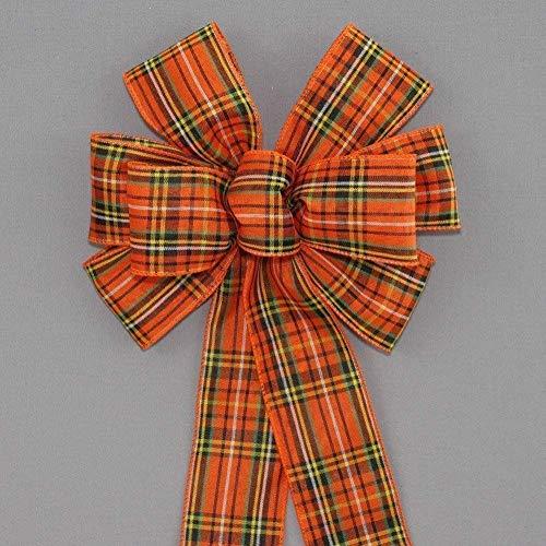Orange Tartan Plaid Halloween Fall Wreath Bow - available in 2 sizes