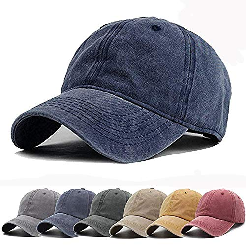 (Aedvoouer Unisex Washed Twill Cotton Baseball Cap Vintage Distressed Plain Adjustable Dad Hat (Navy Blue))