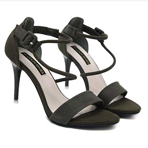 SHEO sandalias de tacón alto Una palabra con sandalias de tacón alto de ganchillo con dedo del pie muy bien con sandalias femeninas Verde