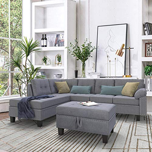 P PURLOVE Sectional Sofa Set with Chaise Lounge and Storage Ottoman Nail Head Detail (Grey) (Sofa Online Set)