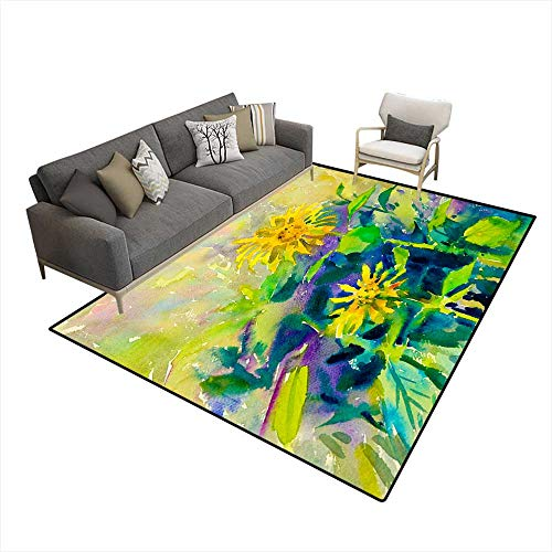 Sun 6' Keyboard (Kids Carpet Playmat Rug Watercolor Painting Original Flower Colorful of Sun Flower 6'x8' (W180cm x L240cm)