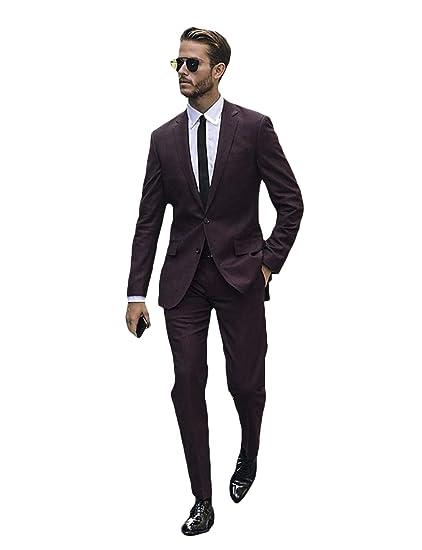 YZHEN Mens Dress Tuxedo Suit Formal Wedding Slim Fit ...