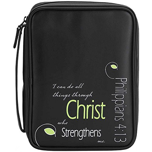 Embossed Names of Jesus Black 7.5 x 10 Leather Like Vinyl Bible Cover Case with Handle Medium