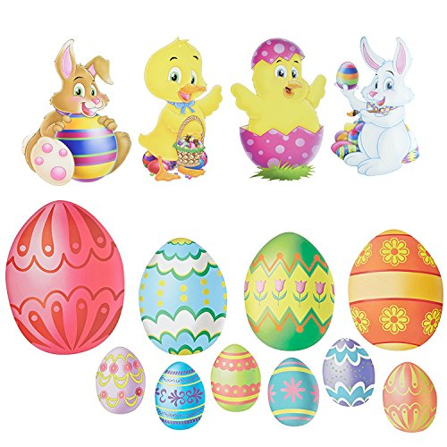 14 Easter Cutout Decorations | Baby Chick, Duck, Bunnies all