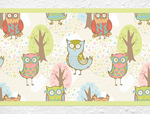 (I-love-Wandtattoo b-10030 Nursery Wall Decal Border Colorful owls Wallpaper Stripes Girl kids decoration)