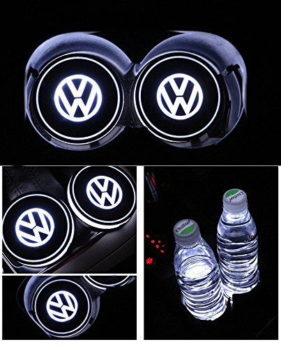 Bearfire Car Logo LED Cup Pad led cup coaster USB Charging Mat Luminescent Cup Pad LED Mat Interior Atmosphere Lamp Decoration Light (Volkswagen)