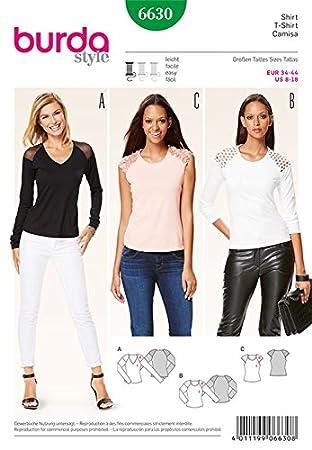 Burda B6630 Schnittmuster T-Shirt Papier Weiß 19 x 13 x 1 cm: Amazon ...