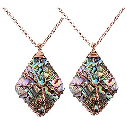 Top Plaza 2pc 7 Chakra Tumbled Stones Wire Wrap Tree Of Life Healing Crystal Pendant Necklace, Mother's Day Gift(Rhombus Abalone - Crystal Wrap Necklace