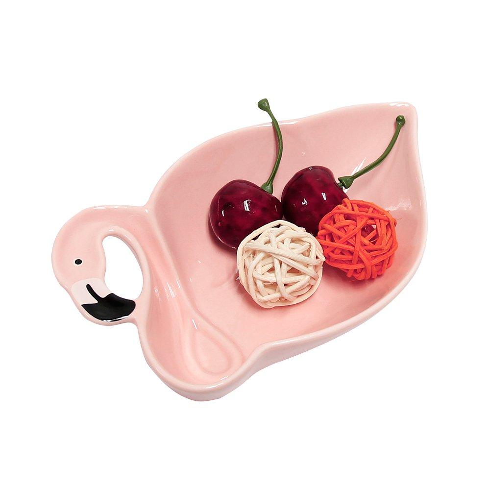 "Ceramic Salad Plate Flamingo Shape Decorative Dessert Dish Jewelry Tray Fruit Food Storage 5.9"" x 3.7"""