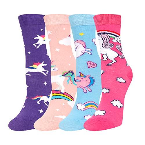 SOCKFUN Girls Llama Unicorn Animal Socks, Crazy Novelty Narwhal Socks in Gift Box