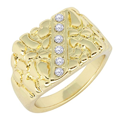 - ICY Nugget 14k Gold Tone AAA Cz Hip Hop Bling Pinky Ring Size 6-12 (7)