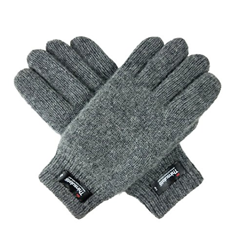 Bruceriver Women's Pure Wool Knitted Gloves with Thinsulate Lining and Rib Cuff Size M ()