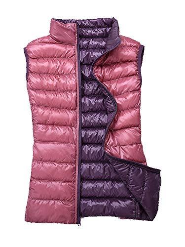 Sobrisah Women's Reversible Ultralight Warm Duble-Sided Wear Winter Outwear Down Vest Jacket Light Purple+Pink Tag M-US 2 -