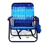 "Beach & Camping and Tailgating Steel Backpack Folding Chair 10"" Height Seat One-Position by JGR Copa (Assorted Colors) (Tie Dye Blue)"