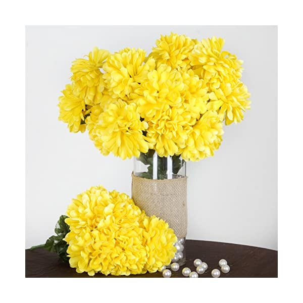 BalsaCircle 56 Yellow Silk Chrysanthemums – 4 Bushes – Artificial Flowers Wedding Party Centerpieces Arrangements Bouquets Supplies