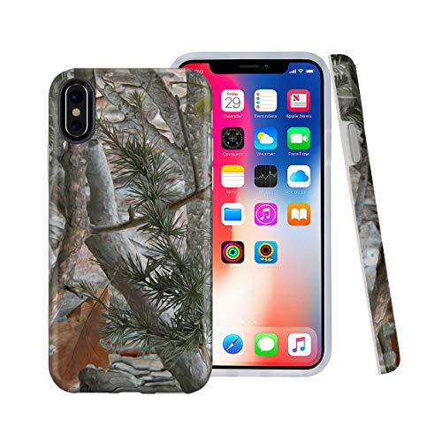 CASESOCIETY Forest Camouflage Design Clear Bumper Matte TPU Soft Rubber Silicone Shockproof Gel Cover iPhone Case Compatible with Apple iPhone X & iPhone Xs