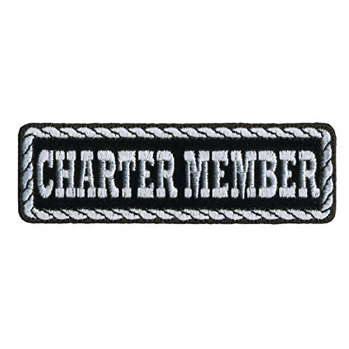 Leather Member (Hot Leathers, CHARTER MEMBER, Black & White - High Quality Iron-On / Saw-On, Heat Sealed Backing Rayon PATCH - 4