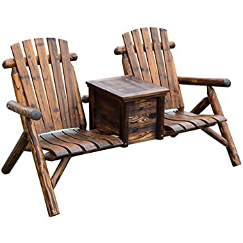 This Item Outsunny Wooden Outdoor Two Seat Adirondack Patio Chair W/ Ice  Bucket   Rustic Brown