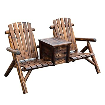 Outsunny Wooden Outdoor Two Seat Adirondack Patio Chair W/ Ice Bucket    Rustic Brown