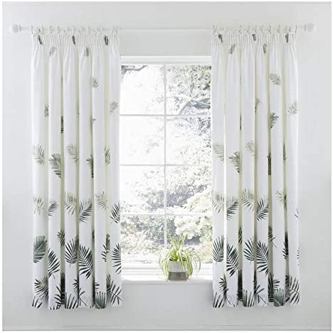 Charlotte Thomas Fern Pair Pencil Pleat Lined Curtains Par de Cortinas Plisadas de Helecho, Poliéster y algodón, Verde, 183 x 168, 4 Pack: Amazon.es: Hogar