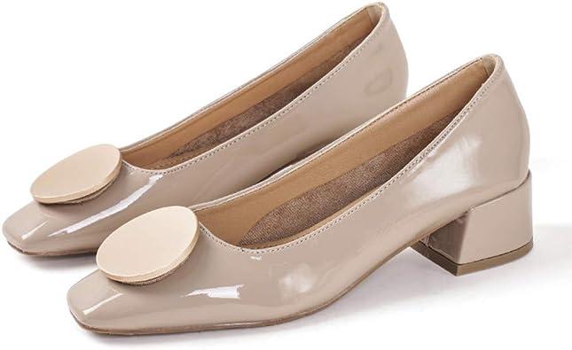 MENGOU Women's Low Chunky Heels Pump