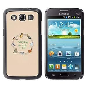 Gatos Amor Animal Modelo amarillo del texto- Metal de aluminio y de plástico duro Caja del teléfono - Negro - Samsung Galaxy Win I8550