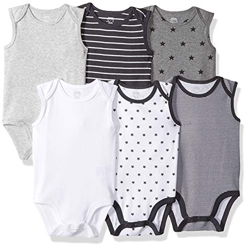 Amazon Essentials Baby 6-Pack Sleeveless Bodysuits, Uni Star Stripe Neutral, 3-6M