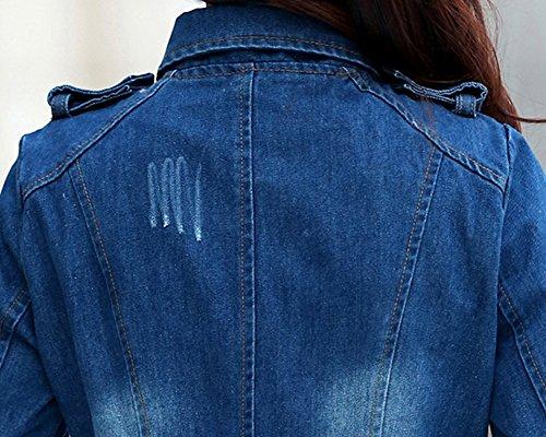 ZongSen Slim Veste Image Vintage Fermeture Blousons Femmes Jeans clair Boutonnage Court Fit Comme Manteau rwRIrFqSB