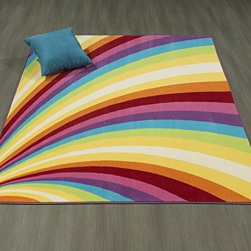 Ottomanson Rainbow Collection Non-Slip Kids Rug Modern Rainbow Pattern Design Area Rug, 3'3