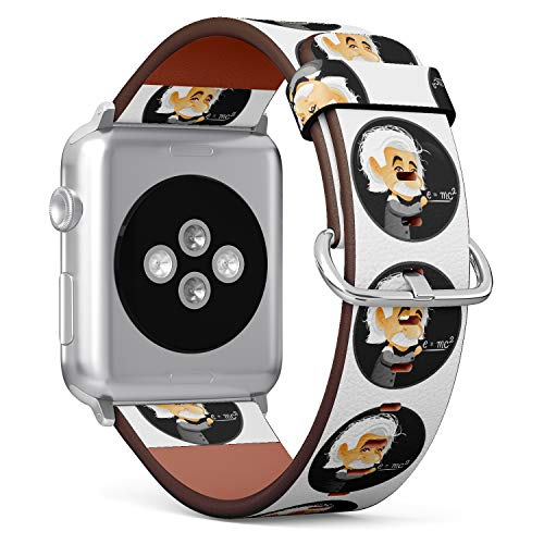 (Albert Einstein Cartoon Illustration) Patterned Leather Wristband Strap for Apple Watch Series 4/3/2/1 gen,Replacement for iWatch 42mm / 44mm Bands