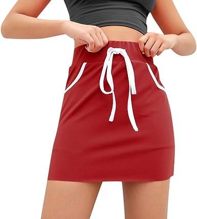 HCFKJ Faldas Mujer Cortas Cordones para Mujeres Bolsillos con ...