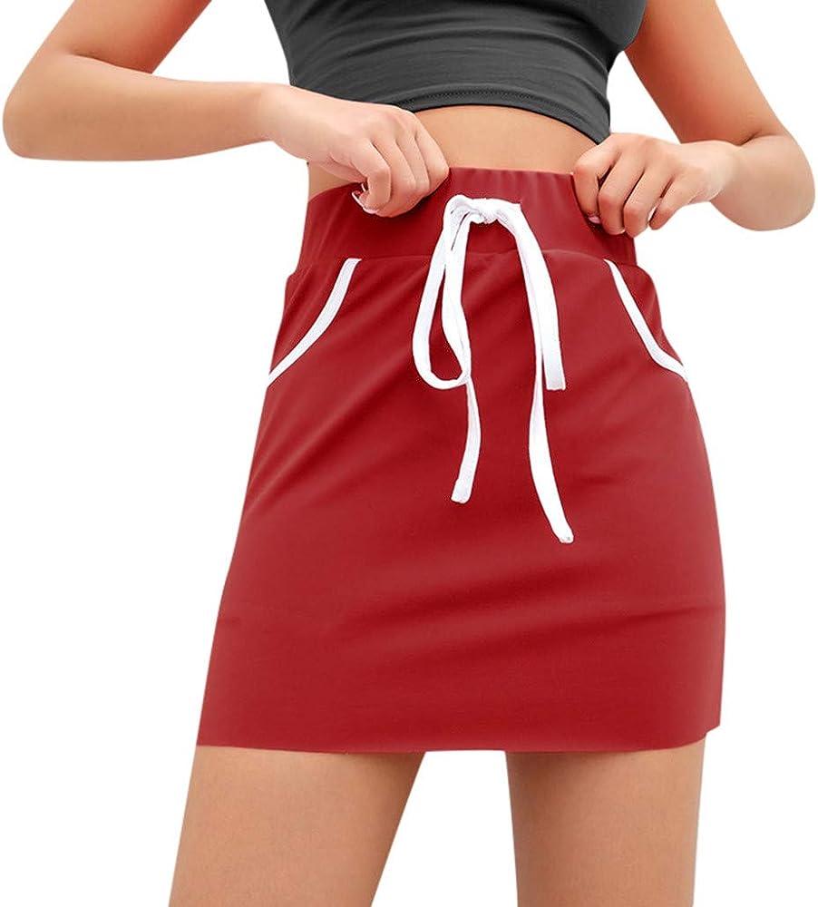 Hokoaidel Falda Corta Mujer Falda de Punto con Cintura EláStica ...