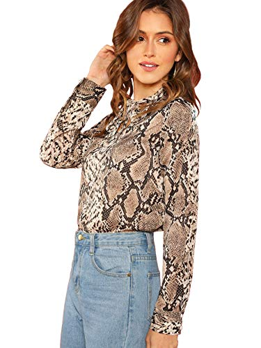 Print Snakeskin Top (Verdusa Women's Tie Neck Snake Skin Print Blouse Long Sleeve T-Shirt Top Muticolor M)