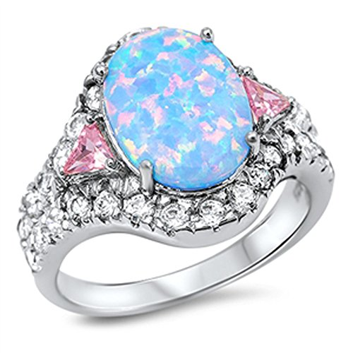 Blue Simulated Opal Cluster Classic Ring New .925 Sterling Silver Band Size 5 (Ring Five Silver Cluster Sterling)