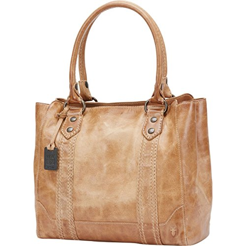 (FRYE Melissa Tote Leather Handbag, Beige, One size)