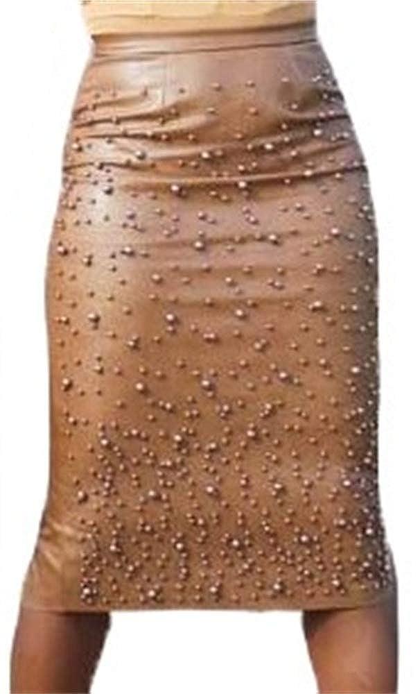 Famnbro Women PU Leather Skirts Pearl Ruffle Asymmetrical Hem Knee Length Skirt Plus Size