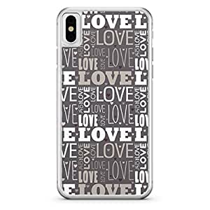 Apple iPhone X Transparent Edge Love Pattern Grey Shades - Multi Color