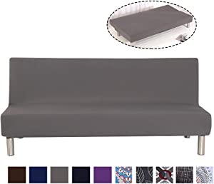 TOPCHANCES Folding Armless Sofa Cover, Universal Sofa Towel Stretch Slipcover Pure Color Full Folding Big Elastic Furniture Non-Slip Settee Sofa Couch Shield Washable Cover for Sofa Bed (Solid Grey)